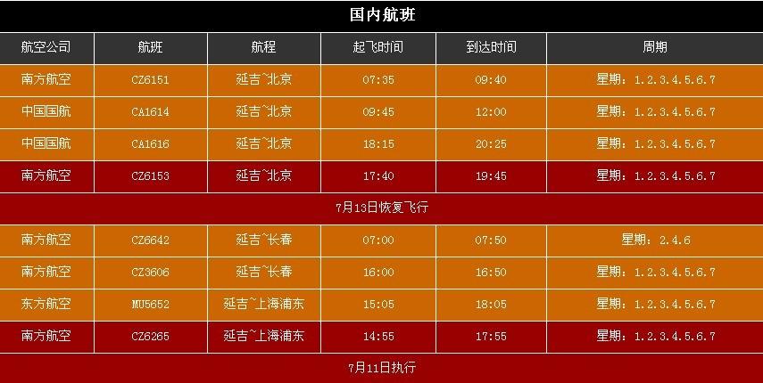 延吉机场航班信息