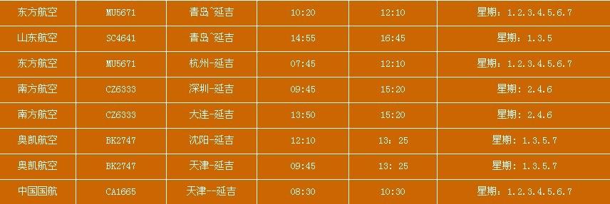 延吉国际机场 (2014)夏秋航班时刻表